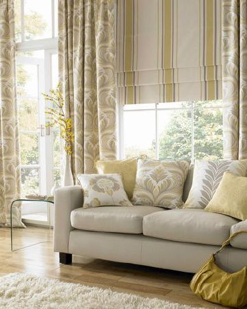Ashley Wilde - Zahira Fabric Collection - Yellow and cream striped roman blind with modern floral curtains and cushions