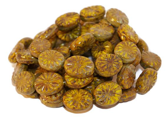 Picasso Czech Glass Beads Green Brown Oval Star Round Tablet Shape Flat Original Exclusive Authentic 14mm x 11mm 8pc  #beads #czechbeads #czechoriginalbeads #czechauthenticbead #czechglassbeads #glassbeads #picasso #picassobeads #czechbeadspicasso #etsy