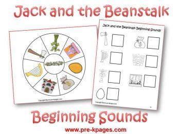Jack and the Beanstalk beginning sounds via www.pre-kpages.com/jack/