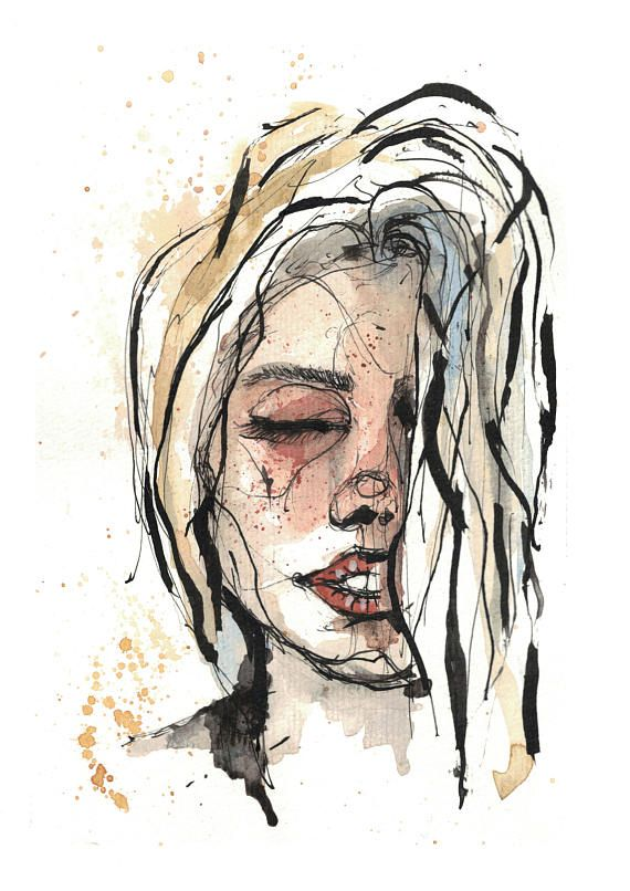 Girl watercolor painting print ink illustration fashion