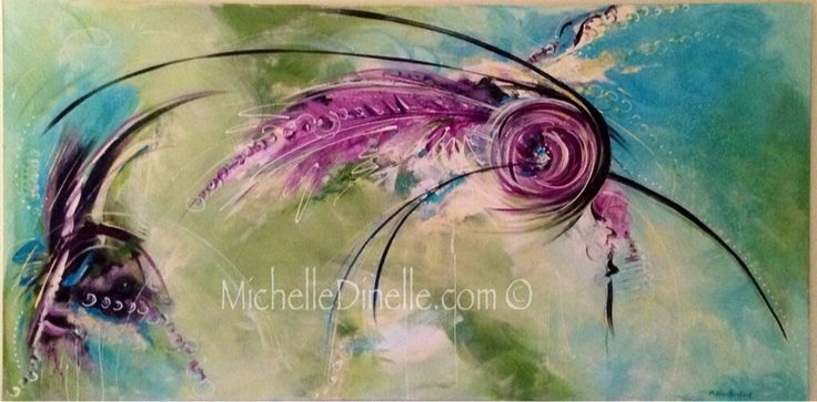 "PLUME by Canadian Artist Michelle Dinelle Acrylic on Canvas | 24""x48"""" 