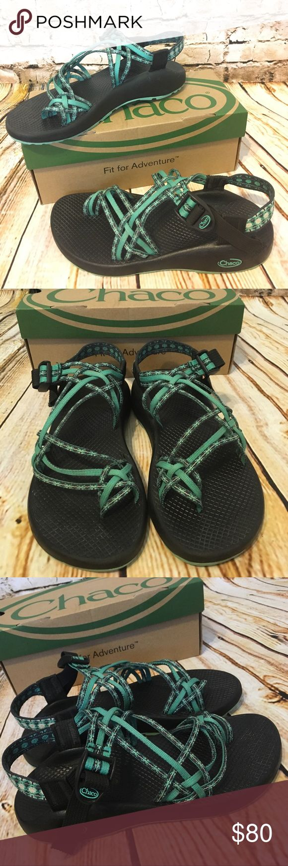 Chacos US women's size 8, Chukwalla Aqua, EUC! Chaco brand Chacos sandals, US women's size 8. Authentic, not knock off! Excellent, gently loved condition. Style and coloring is Chukwalla Aqua. Worn once for a total of about 4 hours and put back in box. Will include original box! Purchased new for $104.99 plus tax locally at a high end sporting goods store. Bundle discount available! Chaco Shoes Sandals