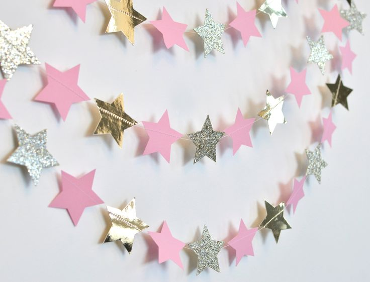Pink and Gold Twinkle Twinkle Little Star, Paper Garland, Birthday Party Decor…