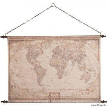 "J-Line Antieke vintage wereldkaart The World in bruin katoen 130 <span style=""font-size: 0.01pt;"">Jline-by-Jolipa-58517-antieke-stijl-decoratie-online-kopen-online</span>"