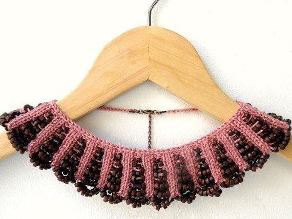 Items similar to Hand Knit Necklace, Dusty Rose Collar with Brown Wooden Beaded on Etsy