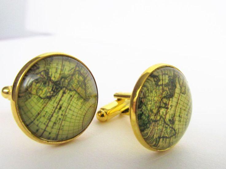 Butoni aurii unisex pentru camasa cu harta lumii stil vintage