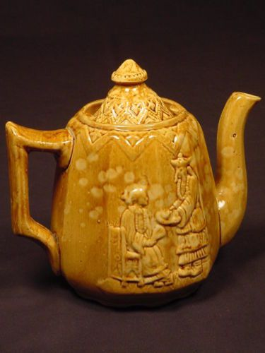 Rare 1870s Phoenixville Pa Schreiber Rockingham Teapot