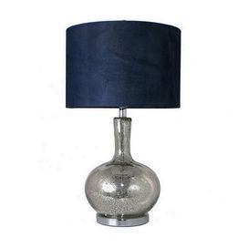 Mercury-finished glass lamp with a navy shade.      Product: Table lamp    Construction Material: Glass and fabric  Color: Silver and royal blue   Dimensions: 25 H x 10 Diameter