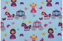 Bavlněný úplet s potiskem princezen 2534/003