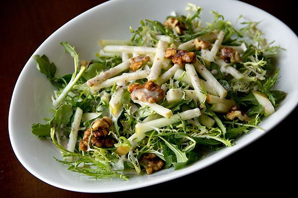 Honey Crisp Apple Salad with Candied Walnuts and Sweet Spiced Cider Vinaigrette...hellluurr, i want this. like, now.