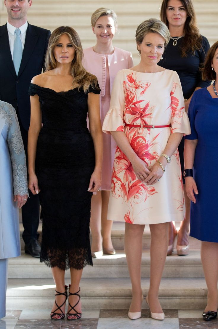 First Lady of the US Melania Trump, Queen Mathilde of Belgium and the spouses of the other NATO leaders pose for a family photo before a diner of the First Ladies and Queen at the Royal castle in Laken/Laeken, on May 25, 2017, in Brussels.