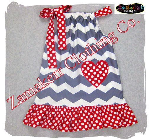 Items similar to Girl Valentines Day Pillowcase Dress Heart Red Custom Boutique Clothing Chevron Toddler Baby 3 6 9 12 18 24 Month Size 6 7 8 on Etsy