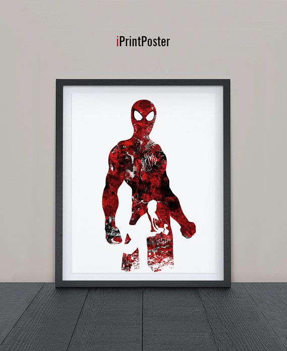 Spiderman Print Watercolor Superhero poster Marvel by iPrintPoster