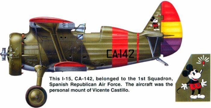 Polikarpov I-15 Chato de la Aviación republicana, pilotado por Vicente Castillo…