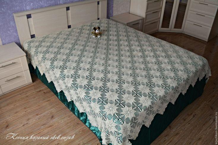Купить Покрывало ажурное крючком Звезда - бежевый, покрывало на кровать, покрывало в спальню, интерьер