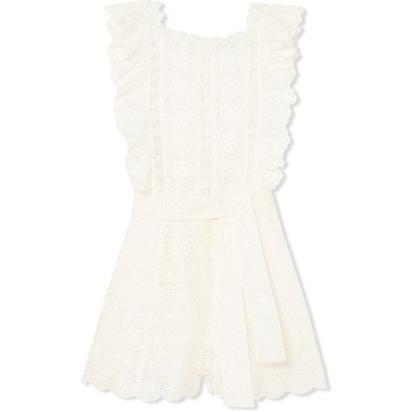Zimmermann Kali Daisy broderie anglaise cotton and lace playsuit (1.760 BRL) ❤ liked on Polyvore featuring jumpsuits, rompers, white, lace ruffle romper, ruffle romper, ruffled rompers, beach romper and beach rompers