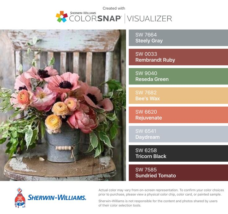 I found these colors with ColorSnap® Visualizer for iPhone by Sherwin-Williams: Steely Gray (SW 7664), Rembrandt Ruby (SW 0033), Reseda Green (SW 9040), Bee's Wax (SW 7682), Rejuvenate (SW 6620), Daydream (SW 6541), Tricorn Black (SW 6258), Sundried Tomato (SW 7585).