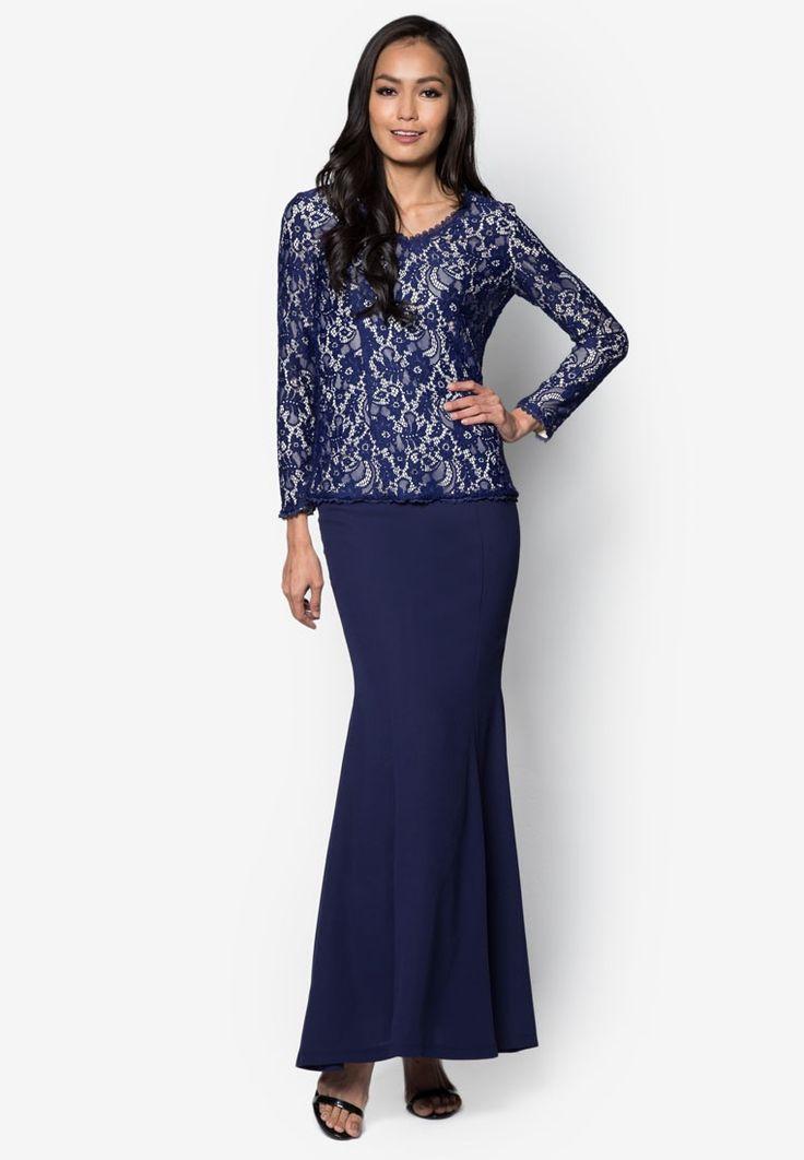 Baju Kurung Moden Lace - Vercato Tasha from VERCATO in blue_1