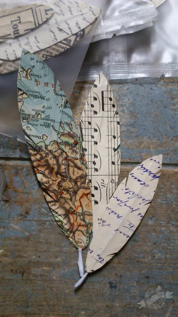 Feathers made out of old French manuscripts, publicity, maps and music sheets have at least 7 uses. Using them to make a pair of wings and flying to the sun would not be one of them. What would you do with yours? In store now, pack of three; Daddy feather, Mummy feather and Baby feather.