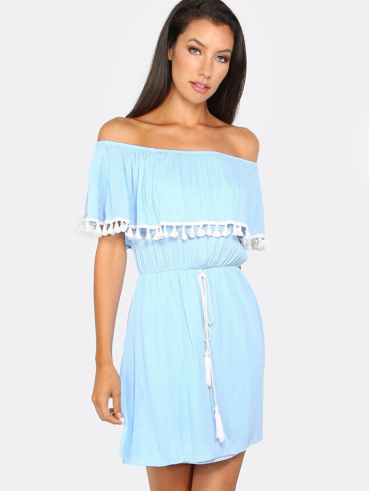 Shop Off The Shoulder Tassel Dress SKY online. SheIn offers Off The Shoulder Tassel Dress SKY & more to fit your fashionable needs.