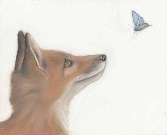Fox and butterflies  fine art print/ children's room