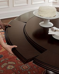 "Sienna Round Dining Table in mahogany; 56"" diameter; 72"" with leaves.  www.brownstonefurniture.com"