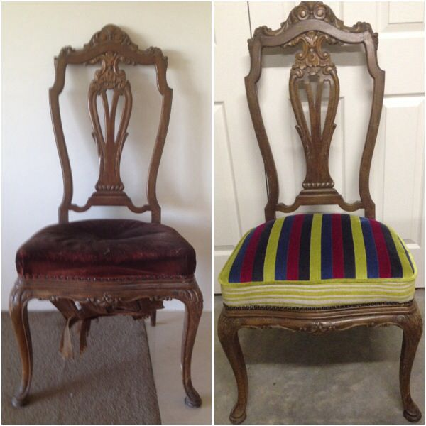 An old antique chair, with hand made springs and filled with straw....before and after