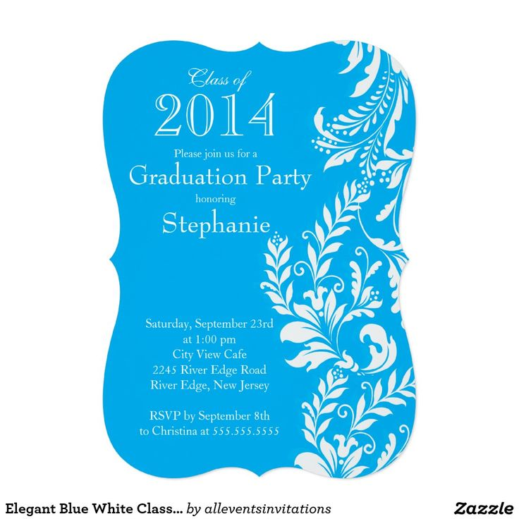 14 best cosmetology invitations images on pinterest beauty elegant blue white class of 2014 graduation party 5x7 paper invitation card stopboris Images
