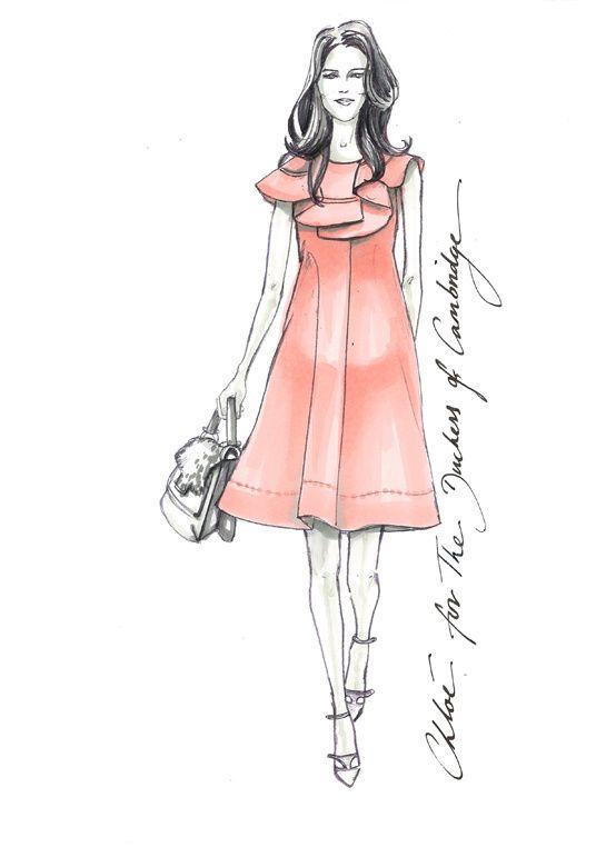 La robe Chloé imaginée pour la Duchesse de Cambridge http://www.vogue.fr/mode/inspirations/diaporama/traits-de-genies-croquis-de-createurs-mode/12687/image/744325#!la-robe-chloe-imaginee-pour-la-duchesse-de-cambridge