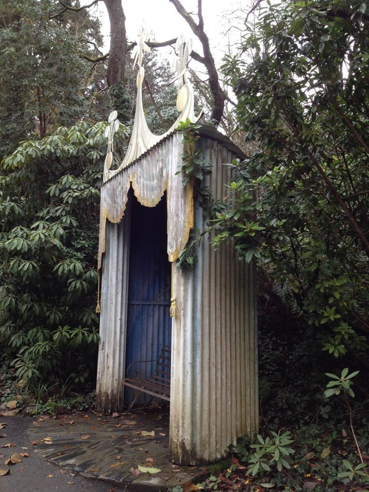 Love this opulent shelter made of nothing more than corrugated iron sheet. In Portmeirion, Wales #gardendesign #landscapes