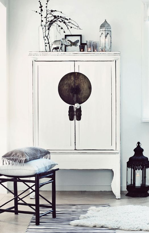 Rather beautiful cabinet - could be an old gentleman's wardrobe given a contemporary oriental makeover . . .