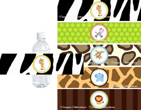 Wild Safari Water Bottle Labels  INSTANT por DBCelebrations en Etsy