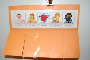 "Visual Schedule for toddlers to help morning time become a smooth transition.Includes five different tasks-Go Potty, Get Dressed, Eat Breakfast, Get Hair Fixed, and Brush Teeth.Laminate and place in a file folder, then cut and add velcro so children can ""close"" the tab when it is complete.Clipart taken from classroom clipart."