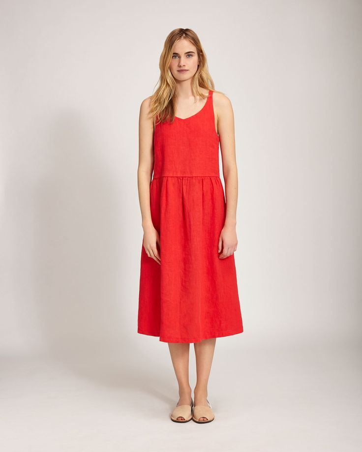 Washed Linen Nightie - Vermillion Red. £115. TOAST