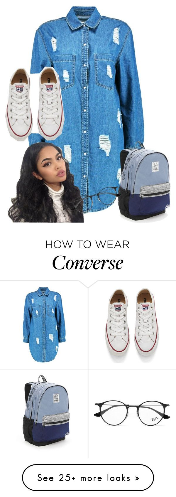 """"" by ivy-goddard on Polyvore featuring Boohoo, Victoria's Secret, Ray-Ban and Converse"