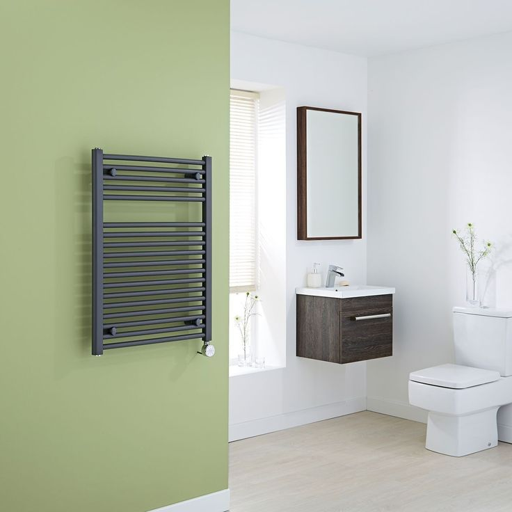 Milano Brook Electric - Anthracite Flat Heated Towel Rail 800mm x 600mm - Thermostatic Electric Towel Rails - Electric Heated Towel Rails - Heated Towel Rails