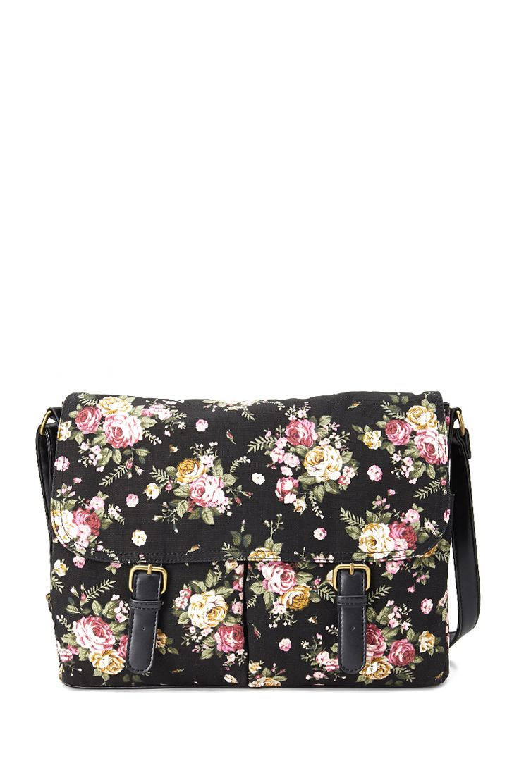 Floral Canvas Messenger Bag #Accessories