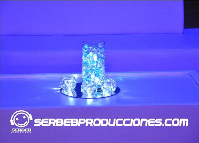 Centro de Mesa con Gel y en Led http://serbebproducciones.com/