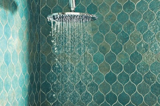 teal capiz tiles and a rain shower head. looks like heaven