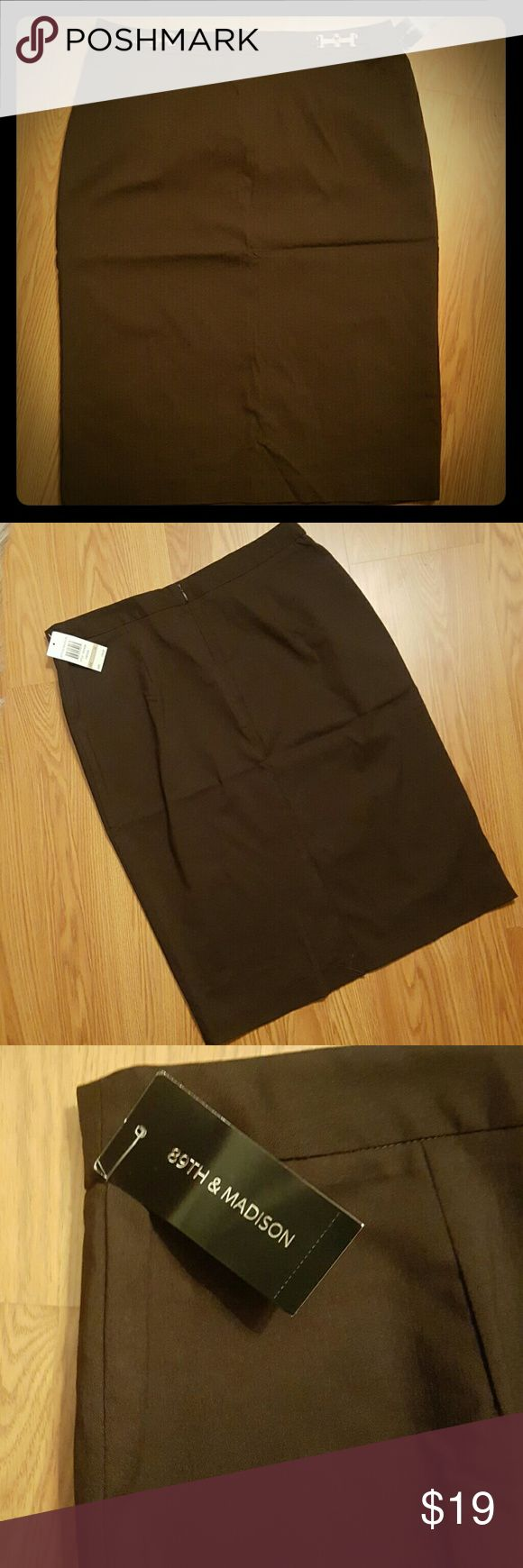 89th & Madison Pencil Skirt 89th & Madison Brown pencil w/gold tone hardware in front; rear zip closure. 74% rayon, 22% nylon, 4% spandex.  A wardrobe staple. 89th & Madison Skirts Pencil