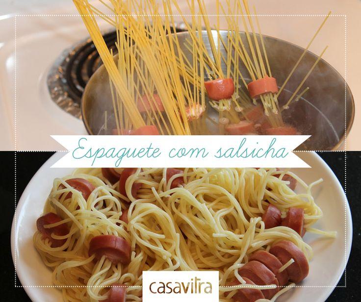 Esquisito ou delicioso? Espaguete com salsicha é o prato favorito de quem não se entende com as panelas...