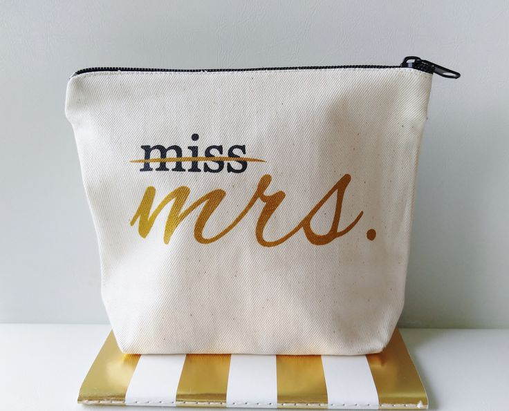 "Canvas Makeup Bag, ""Miss to Mrs"". Our lined makeup bag is a great gift for the bride to be! Made of natural cotton canvas,lined with black zipper PRODUCT DESCRIPTION - 8""W X 6""H X 2""D - Soft, easy to"