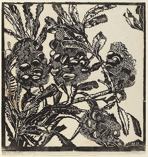 Margaret Preston linocut of banksias