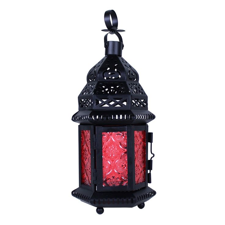 "23727 - Moroccan Lantern Small Black Red - Wholesale. This small lantern is only about a hand high. A good size for a votive candle (not included). Two panel door has a 2 3/4"" x 3 1/4"" opening. 10 1/4"" high with hoop up. Matte Black Finish.  https://superwholesaler.com"