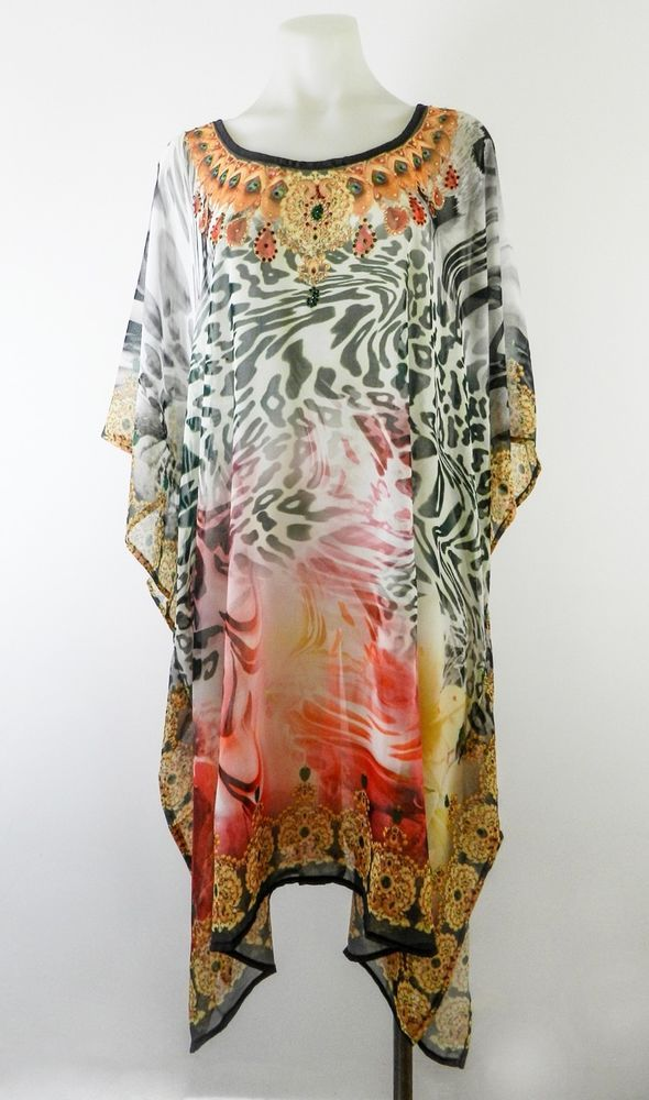 Ladies Caftan Kaftan Embellished Jewelled Animal Print Dress  8 10 12 14 16 18