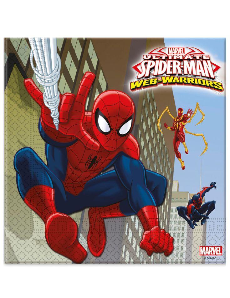 20 Tovagliolini di carta supereroi Spiderman™ su VegaooParty, negozio di articoli per feste. Scopri il maggior catalogo di addobbi e decorazioni per feste del web,  sempre al miglior prezzo!