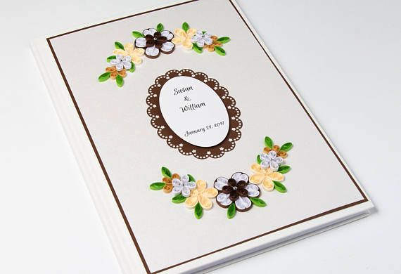 Custom Wedding Guest Book Brown Floral Quilling Personalized Handmade Anniversary Guestbook Sign In Book Wedding Keepsake Unique Classy Guestbooks Etsy by PaperParadisePL