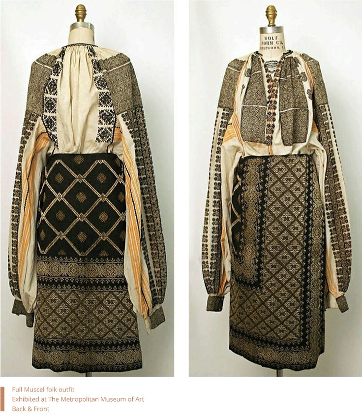 Full Muscel Romanian folk outfit. Exhibited at The Metropolitan Museum of Art