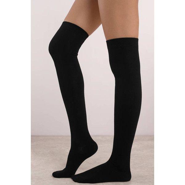 Tobi Mammoth Thigh High Socks (€11) ❤ liked on Polyvore featuring intimates, hosiery, socks, black, thigh-high socks and thigh high hosiery