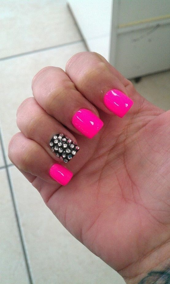 pink and white nails with diamounds | Hot pink and black diamond nails.